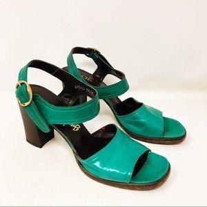 Vintage 70s Teal Green Leather Ankle Strap Heels
